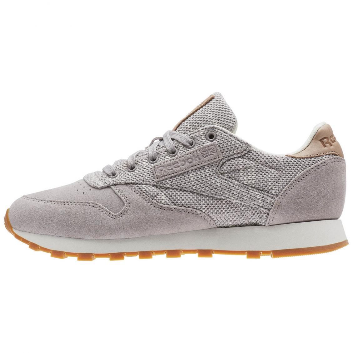 Grey – Reebok Classic Leather EBK Womens Whisper Grey / Chalk / Lilac Ash / Vegtan / Gum