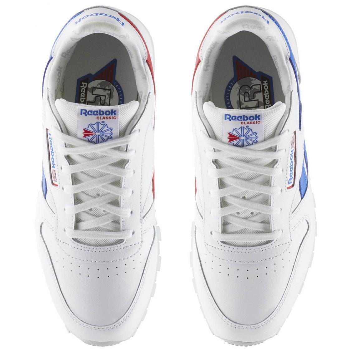 White – Reebok Classic Leather SO – Grade School Kids White Vital Blue Primal Red Light Grey Heather Solid Grey