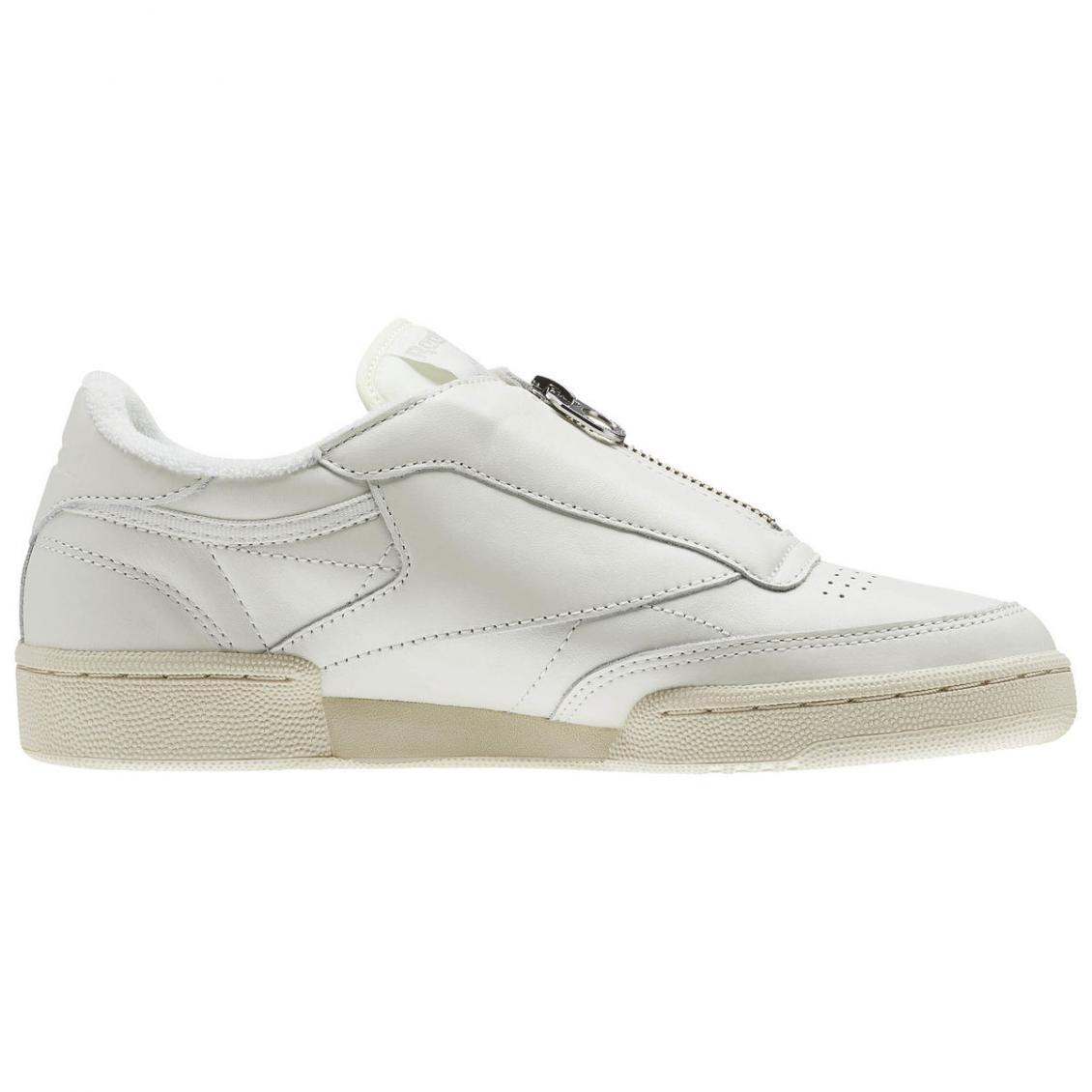 White – Reebok Club C 85 Zip Womens Chalk / Sand Stone / Paper White / Met Silver